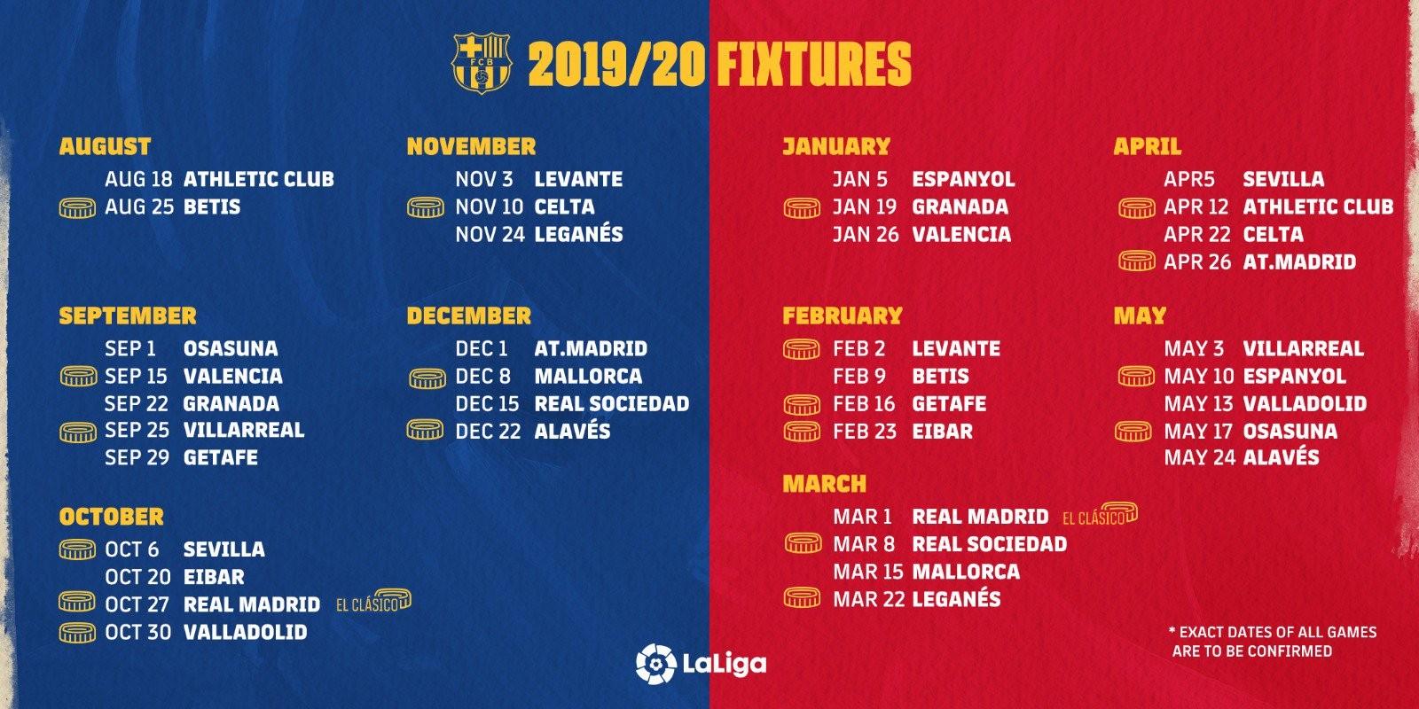 Calendrier Fc Barcelone 2021 2022 Le calendrier du FC Barcelone dévoilé   FC Barcelone   Blaugranas.fr